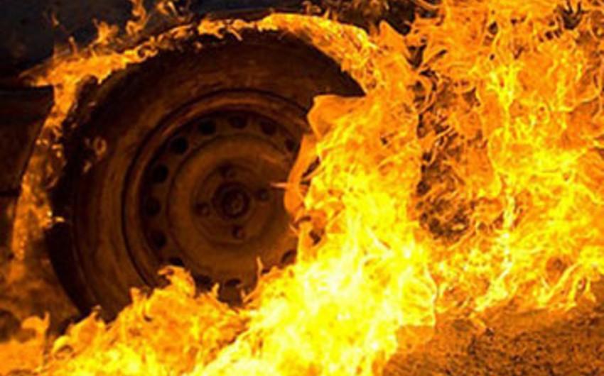 Göygöl rayonunda yük maşını yanıb