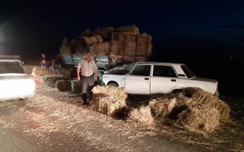 Cəlilabadda traktor minik maşını ilə toqquşub - FOTO