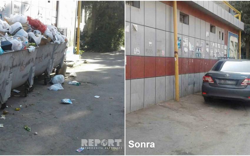 В Насиминском районе беспокоившие жителей мусорные баки были возвращены на прежнее место
