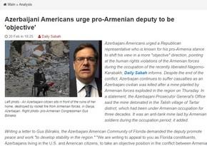 Azərbaycan diasporu ermənipərəst konqresmeni ədalətli mövqe tutmağa çağırıb