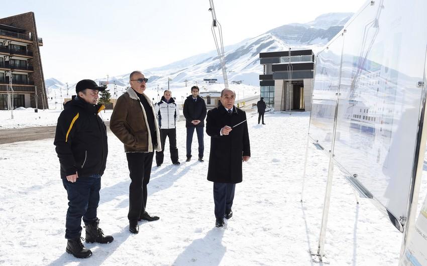 """Prezident Qusarda """"Şahdağ"""" qış-yay turizm kompleksinin növbəti inkişaf planları ilə tanış olub"""