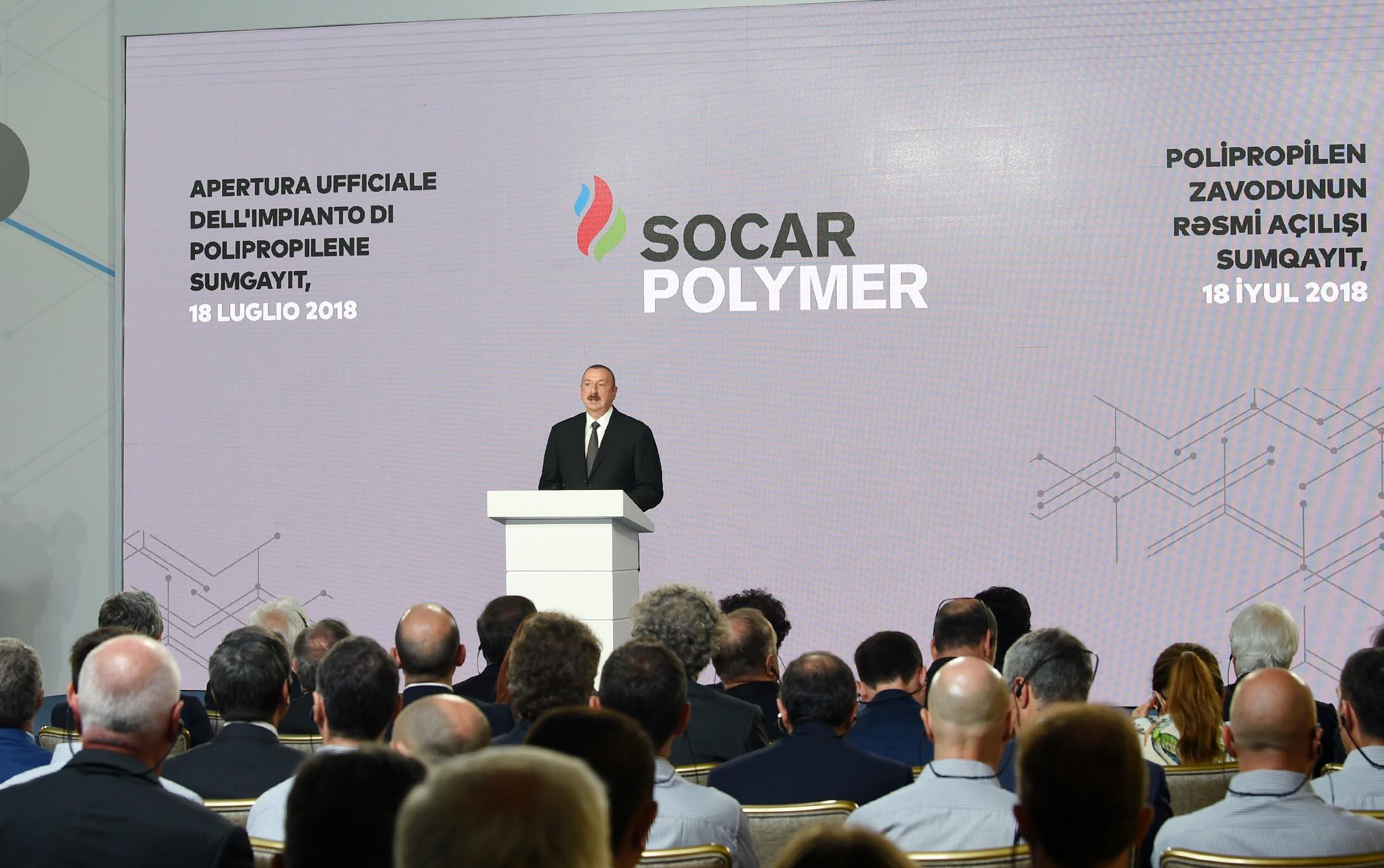 """Prezident: """"SOCAR Polymer"""" layihəsi çərçivəsində inşa edilən Polipropilen Zavodunda 500-dən çox yeni iş yeri yaradılacaq"""""""