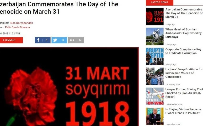 """İndoneziyanın """"Tempo"""" jurnalında azərbaycanlıların soyqırımına dair məqalə dərc edilib"""