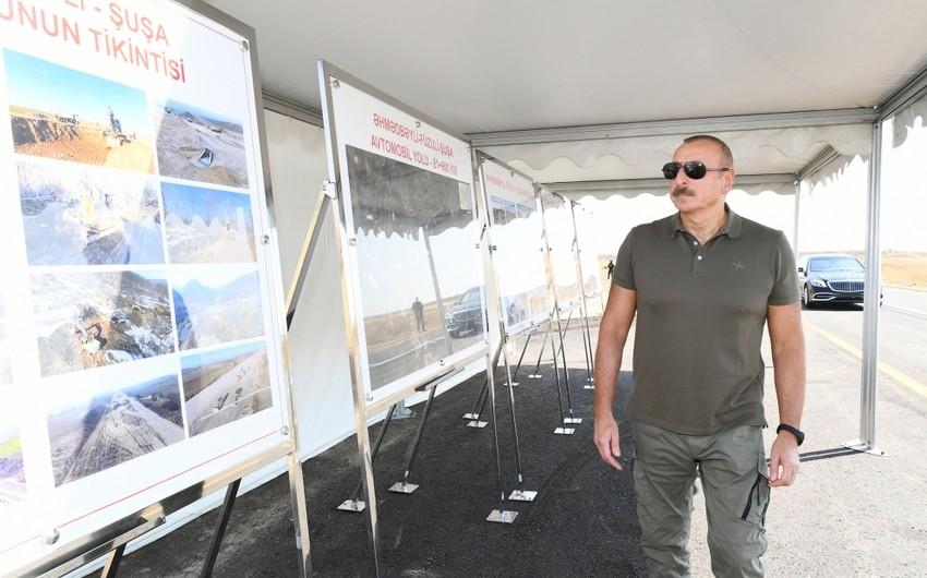 Президент Ильхам Алиев ознакомился с работами на Дороге Победы