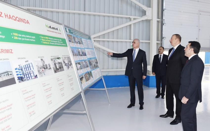Президент Азербайджана принял участие в открытии нового Агдагского гипсового завода