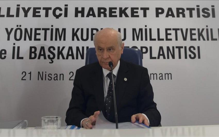 Devlet Bahçeli: MHP-nin prezidentliyə namizədi Ərdoğandır və onun qələbəsi üçün çalışacaq