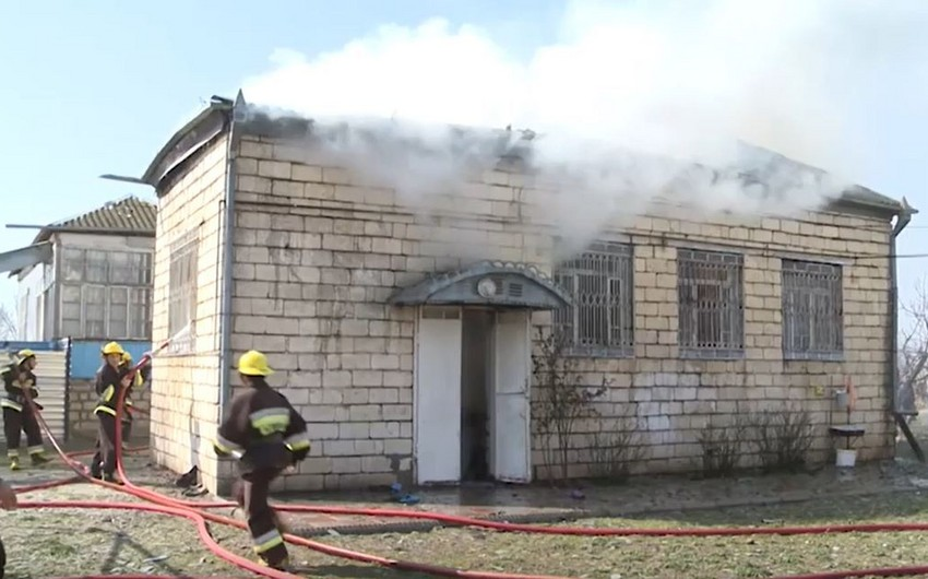 Ağdamda 6 otaqlı ev yandı - VİDEO
