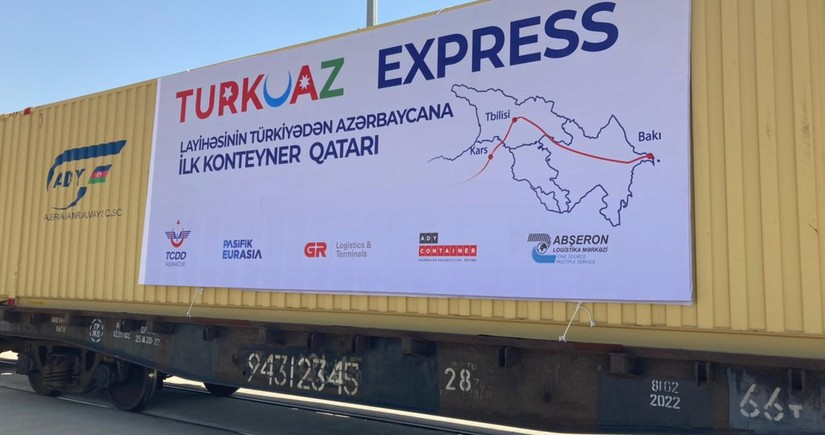 TURKUAZ express block train arrives in Baku