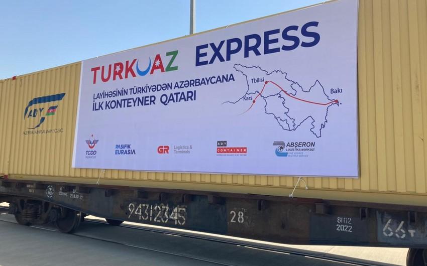 """""""TURKUAZ"""" layihəsi çərçivəsində ilk konteyner blok qatarı Bakıya çatıb"""