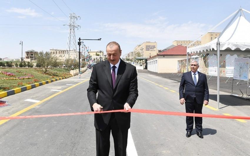 Президент Ильхам Алиев принял участие в открытии реконструированной автомобильной дороги Локбатан-Гобу