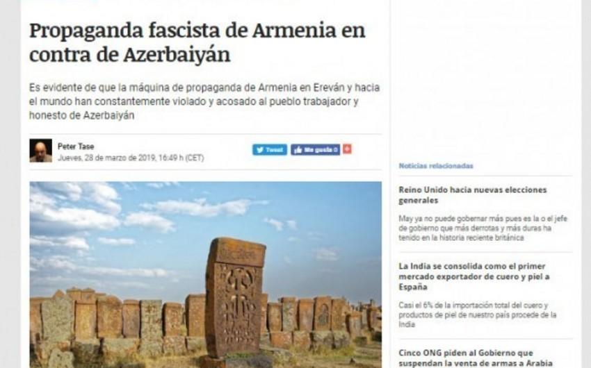 İspaniya portalı Ermənistanın Azərbaycanın tarixi abidələrinə qarşı vandalizmindən yazır
