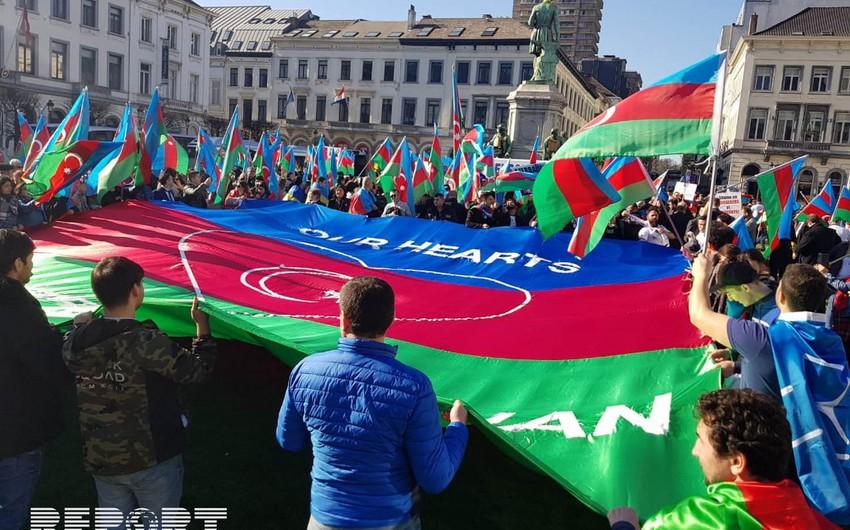 Brüsseldə ümumavropa Qarabağ mitinqi keçirilib - FOTO - VİDEO