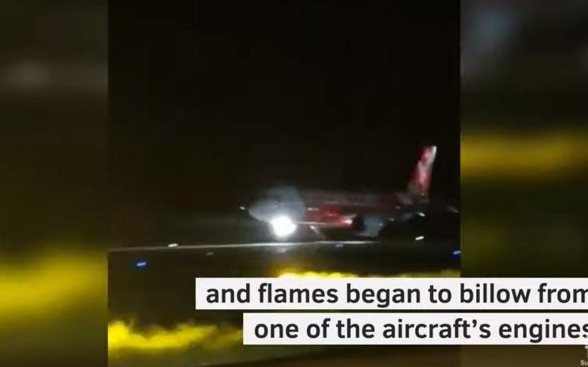 Самолет с горящим мотором совершил аварийную посадку на Мальдивах - ВИДЕО