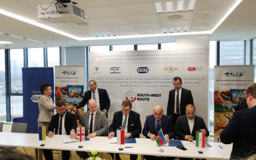"""Varşavada """"Cənub-Qərb"""" beynəlxalq nəqliyyat marşrutunun inkişafı üzrə Koordinasiya Komitəsinin yığıncağı keçirilib"""