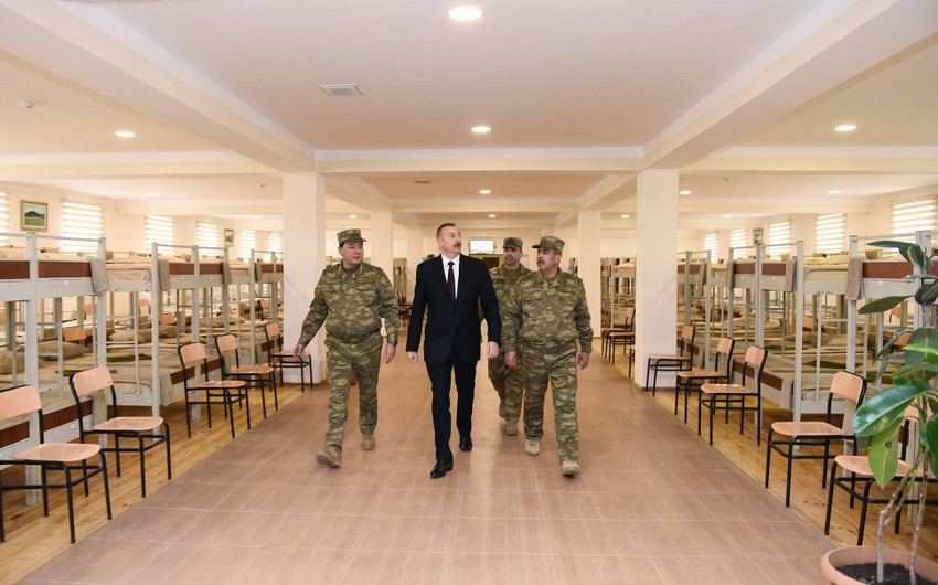 President Ilham Aliyev views conditions created at military unit in Aghjabadi