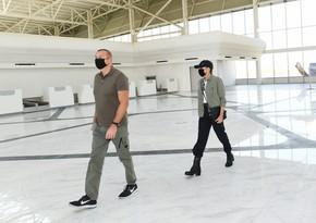 Президент Ильхам Алиев и первая леди Мехрибан Алиева ознакомились с ходом строительства Физулинского международного аэропорта