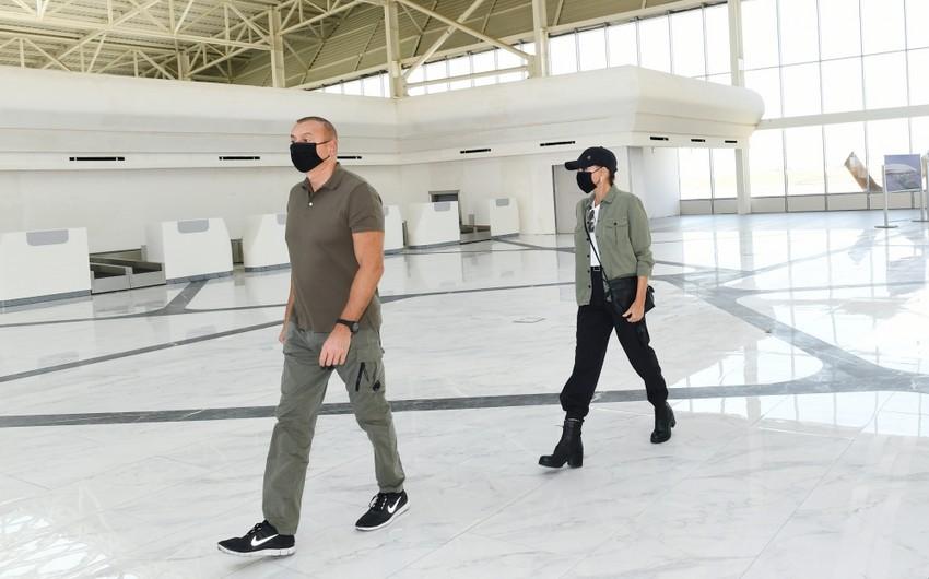 Prezident İlham Əliyev və Mehriban Əliyeva Füzuli Beynəlxalq Hava Limanında görülən işlərlə tanış olublar