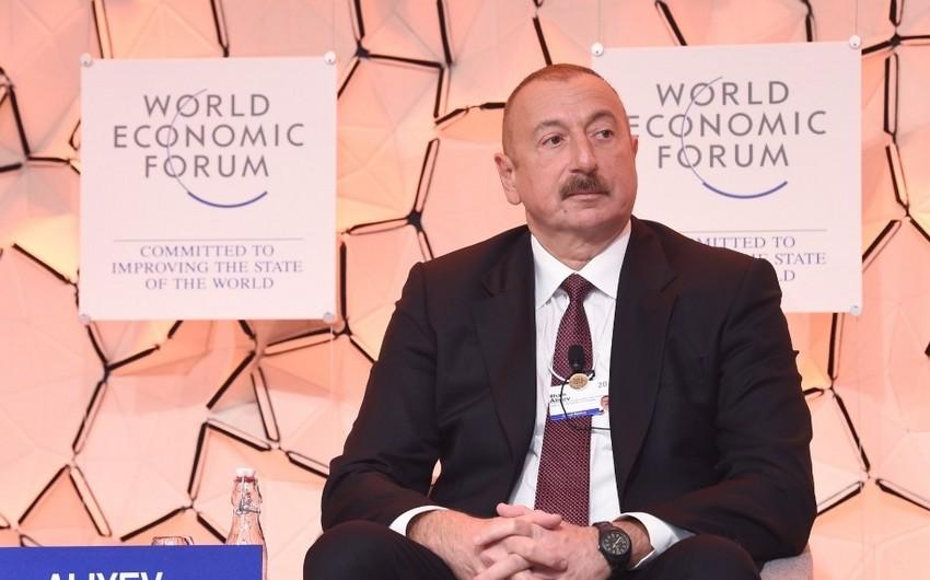"""Prezident İlham Əliyev Davos Dünya İqtisadi Forumunun """"Strateji baxış: Avrasiya"""" mövzusunda panel iclasında iştirak edib - FOTO"""