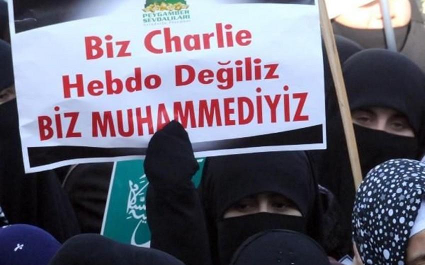 Türkiyədə Charlie Hebdo jurnalına qarşı aksiya keçirilib