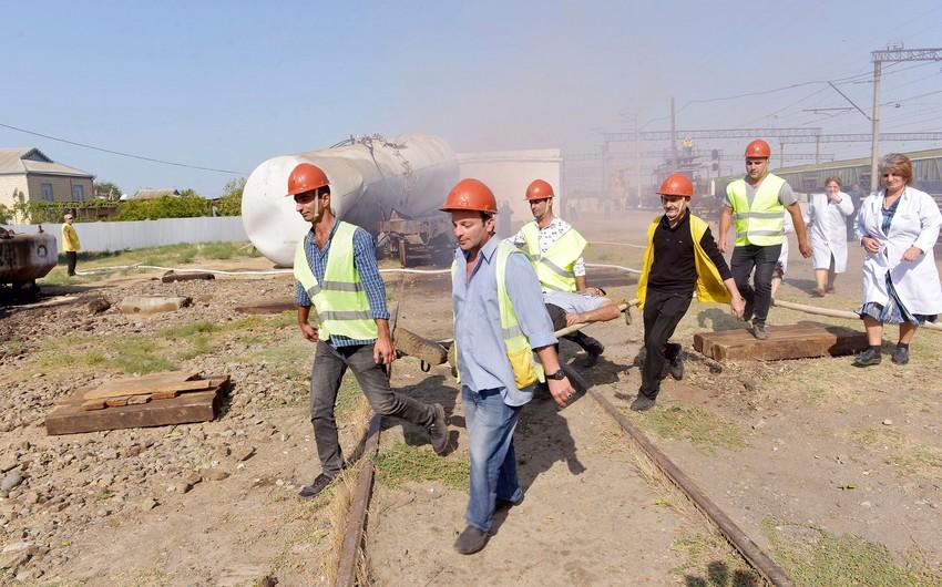 Hacıqabul dəmir yolu qovşağında kompleks mülki müdafiə təlimi keçirilib