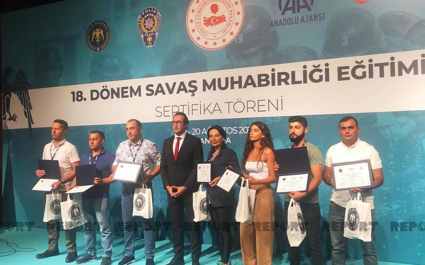 """Ankarada """"Hərbi jurnalistika""""təlimi yekunlaşıb, azərbaycanlı jurnalistlər təltif edilib"""