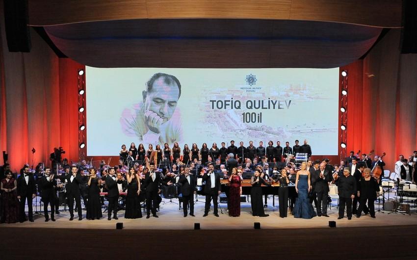 Heydər Əliyev Mərkəzində Xalq Artisti Tofiq Quliyevin 100 illik yubiley gecəsi keçirilib