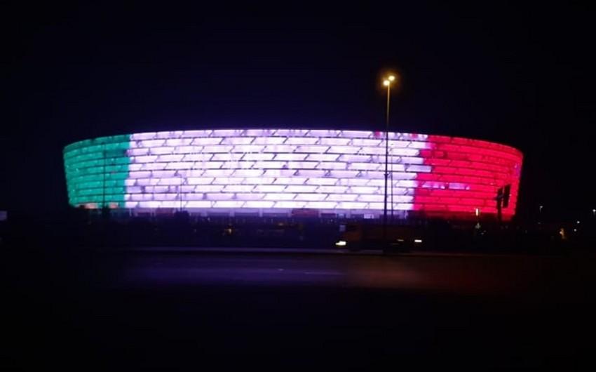 Bakı Olimpiya Stadionu İtaliyanın rəngləri ilə işıqlandırıldı