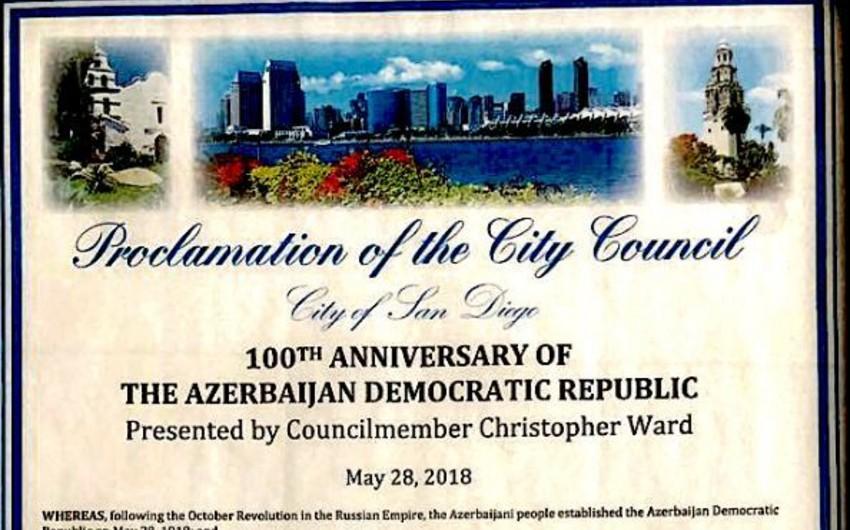 ABŞ-ın San Dieqo şəhərində mayın 28-i Azərbaycan Demokratik Respublikasının 100 illiyi günü elan edilib