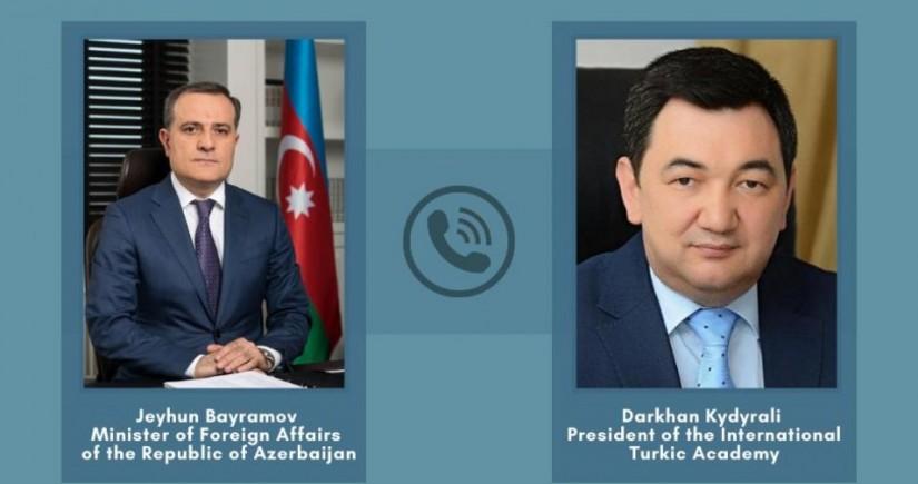 Jeyhun Bayramov had phone conversation with President of International Turkic Academy
