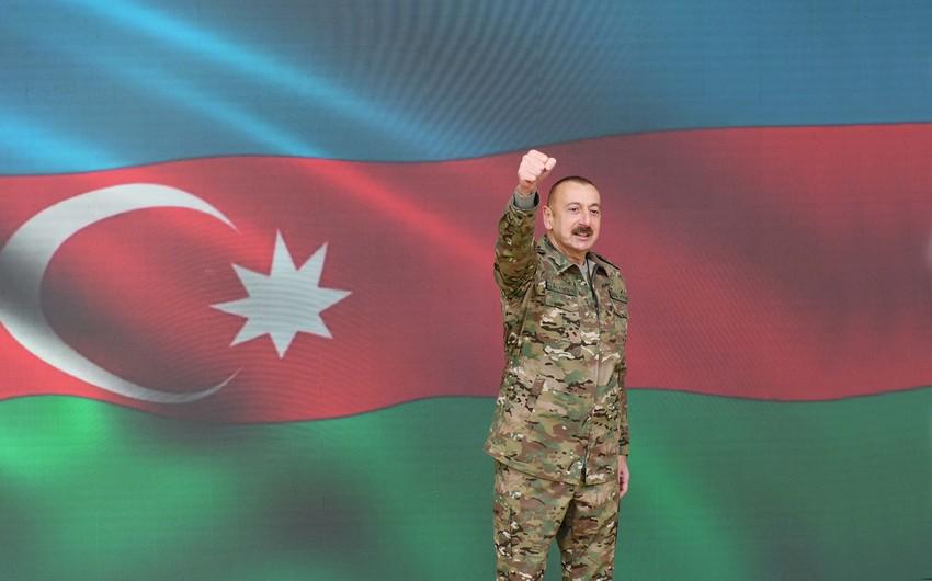 İlham Əliyev: Qəhrəman övladlarımız əlbəyaxa döyüşdə düşməni məhv etdi, Azərbaycan bayrağını Şuşada qaldırdı