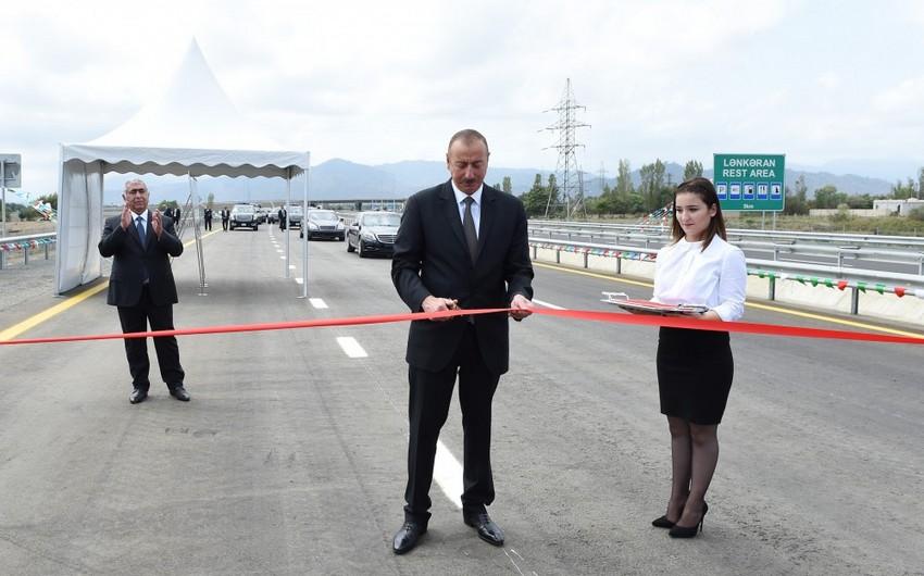 Prezident Lənkəran-Masallı yolunun açılışında iştirak edib