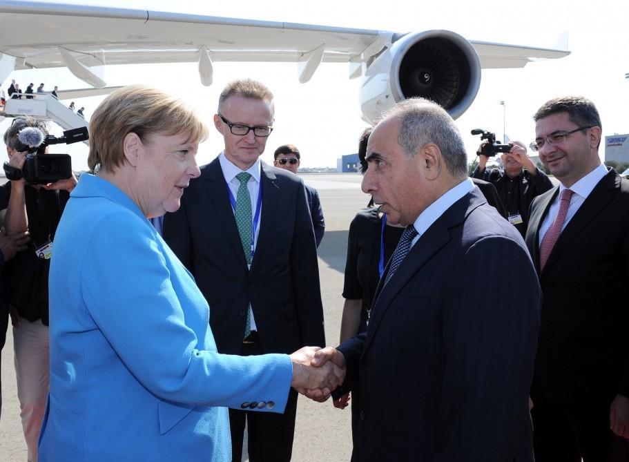 German Chancellor Angela Merkel arrives on working visit to Azerbaijan
