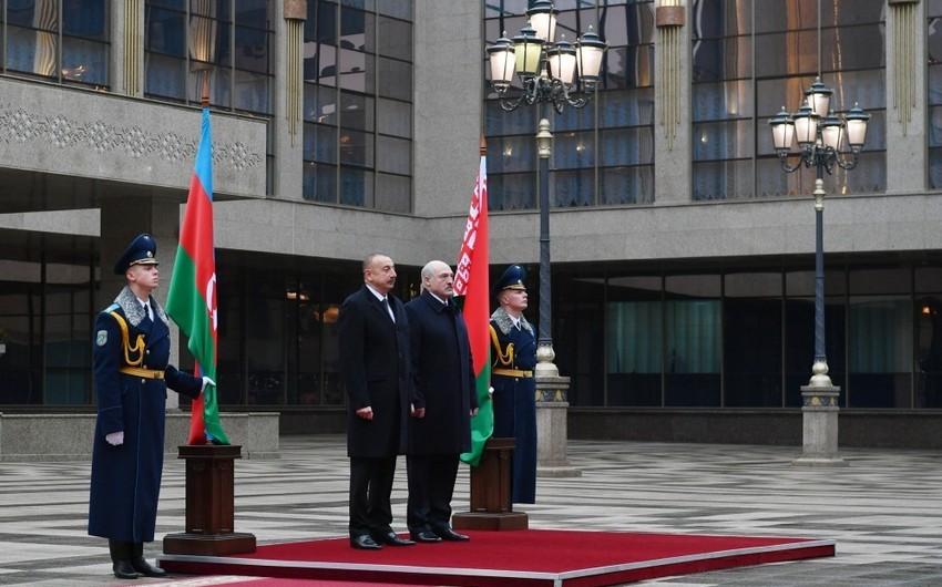 Azərbaycan Prezidentinin Minskdə rəsmi qarşılanma mərasimi olub
