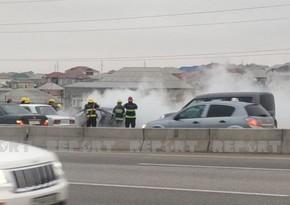 Bakı-Quba yolunda avtomobil yanıb, sürücü xəsarət alıb - YENİLƏNİB