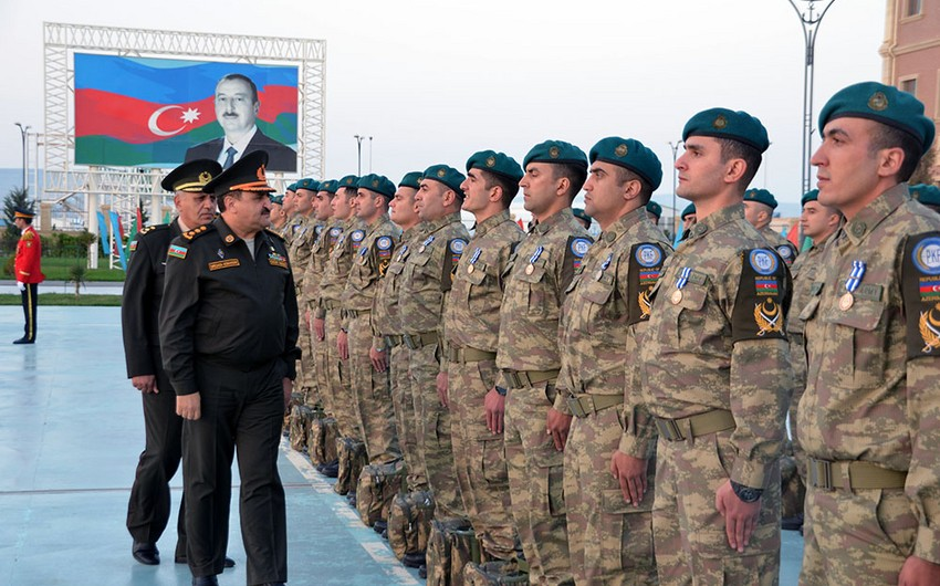 A group of Azerbaijani peacekeepers return from Afghanistan