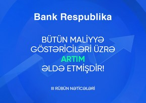 Bank Respublikanın kredit və depozit portfelləri əhəmiyyətli dərəcədə artıb