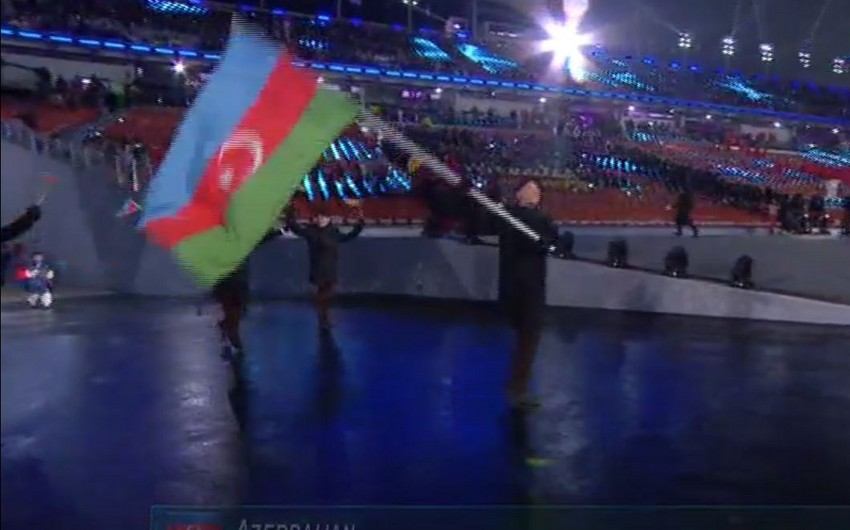 Qış Olimpiya Oyunlarının Açılış mərasimində Azərbaycan nümayəndə heyətinin keçidi olub - VİDEO