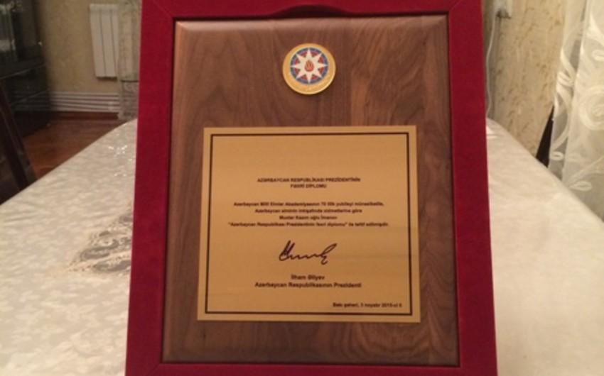 Вагиф Байрамов награжден Почетным дипломом президента Азербайджанской Республики