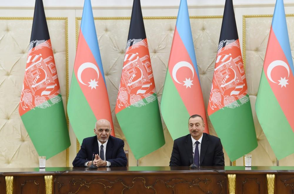 Azerbaijani and Afghan Presidents make press statements