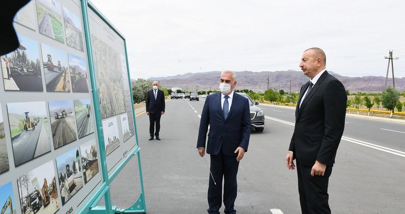 Ильхам Алиев принял участие в открытии магистральной автодороги Джульфа-Ордубад