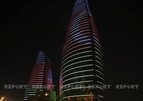 Alov qüllələri Azərbaycan bayrağı ilə işıqlandırılıb