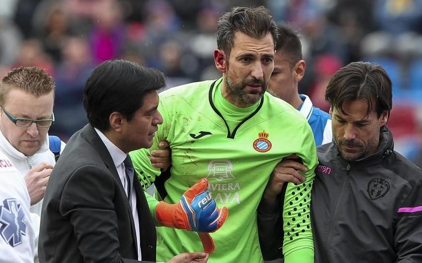 Espanyolun qapıçısı Levante ilə oyunda huşunu itirərək əvəzlənib - VİDEO