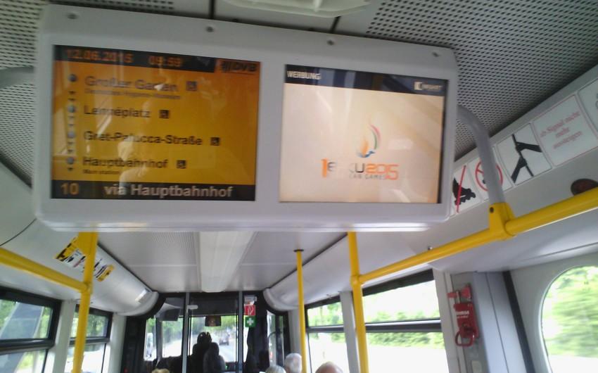 Almaniyanın ictimai nəqliyyatında ilk Avropa Oyunlarına həsr olunan videoçarx nümayiş etdirilir