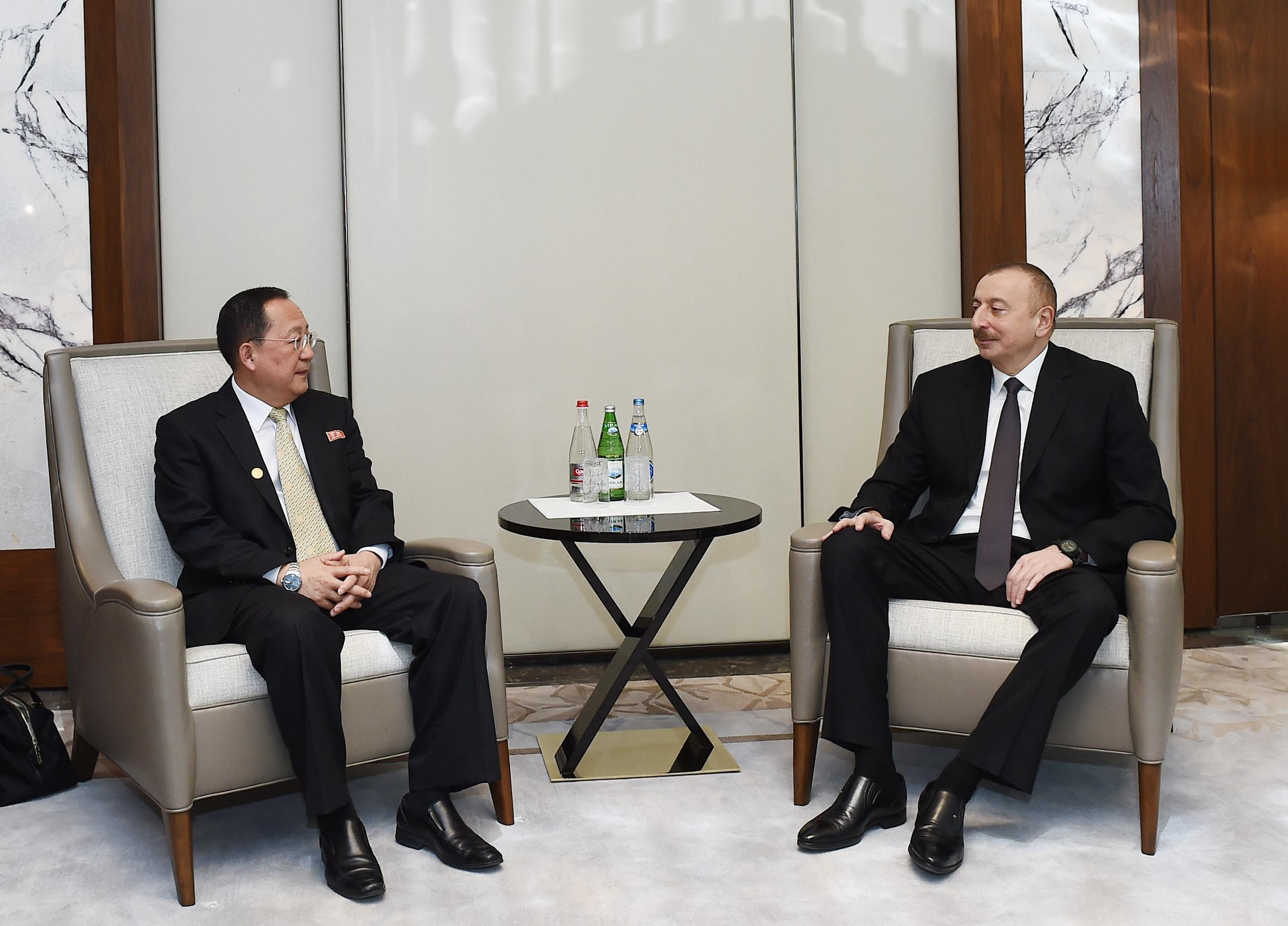 President Ilham Aliyev meets with North Korean foreign minister