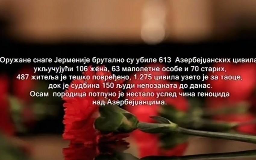 Serbiya televiziyasında Xocalı faciəsi ilə bağlı məlumat yayımlanıb - VİDEO