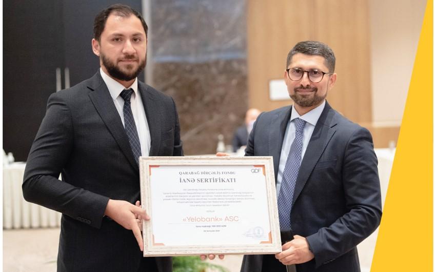 Yelo Bank Qarabağ Dirçəliş Fondunun Sertifikatı ilə təltif olunub