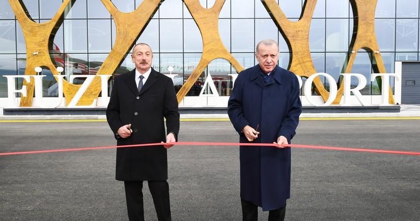 Azərbaycan və Türkiyə prezidentləri Füzuli Beynəlxalq Hava Limanının açılışında iştirak ediblər