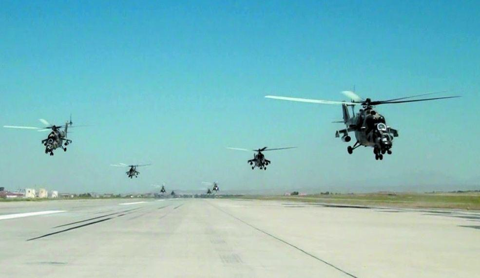 Training flights held in aviation military unit of Separate Combined-Arms Army