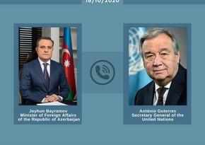 Ceyhun Bayramov BMT baş katibini erməni təcavüzü barədə məlumatlandırıb