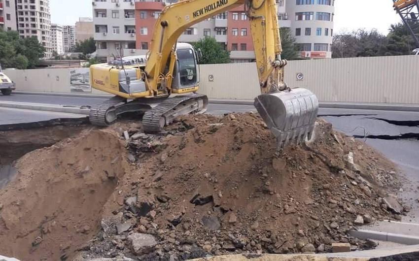 Bakı Metropoliteni: Cəlil Məmmədquluzadə küçəsində baş vermiş çökmə metro tikintisi ilə bağlı deyil